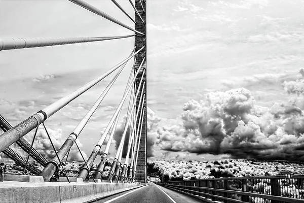 Photograph - Penobscot Narrows Bridge In Black And White by Kay Brewer