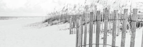 Wall Art - Photograph - Pensacola Beach Fence Black And White Panoramic Photo by Paul Velgos