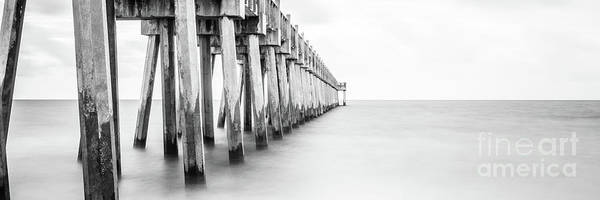 Wall Art - Photograph - Pensacola Beach Florida Pier Black And White Panorama Photo by Paul Velgos