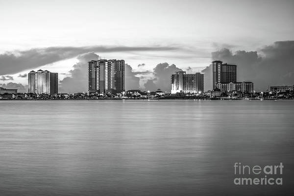 Wall Art - Photograph - Pensacola Beach Florida Skyline Black And White Photo by Paul Velgos