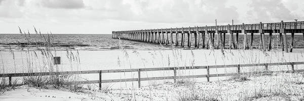 Wall Art - Photograph - Pensacola Beach Gulf Pier Black And White Panorama Photo by Paul Velgos
