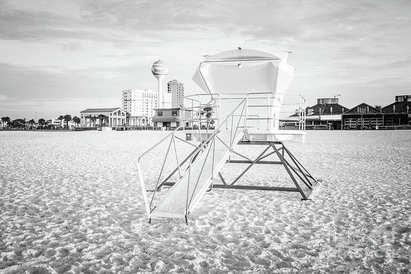 Wall Art - Photograph - Pensacola Beach Lifeguard Tower 2 Black And White Photo by Paul Velgos