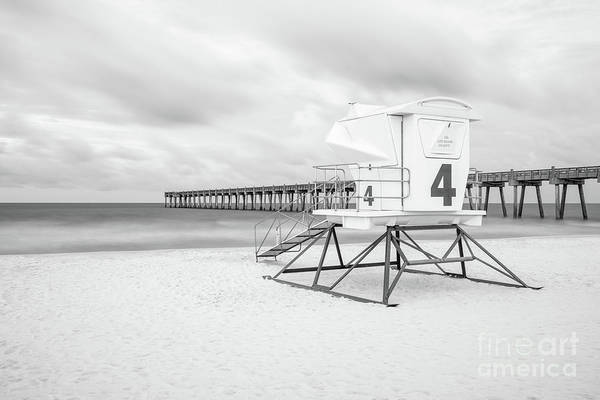 Pensacola Photograph - Pensacola Beach Lifeguard Tower 4 Black And White Photo by Paul Velgos