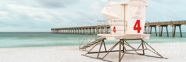 Pensacola Photograph - Pensacola Beach Lifeguard Tower 4 Panorama Photo by Paul Velgos