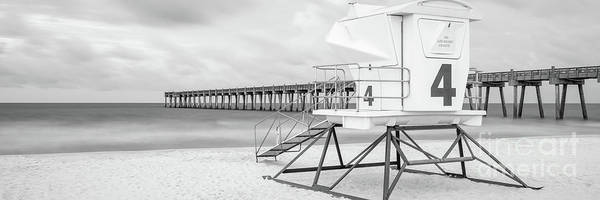 Pensacola Photograph - Pensacola Beach Lifeguard Tower Black And White Panorama Photo by Paul Velgos