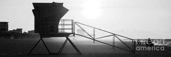 Wall Art - Photograph - Pensacola Beach Lifeguard Tower Two Black And White Panorama Pho by Paul Velgos