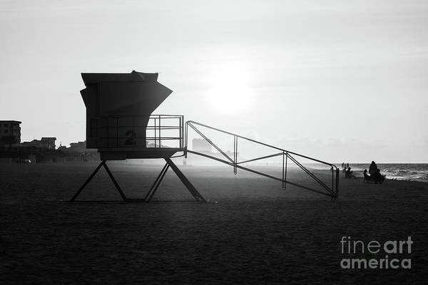 Wall Art - Photograph - Pensacola Beach Lifeguard Tower Two Sunrise Black And White Phot by Paul Velgos