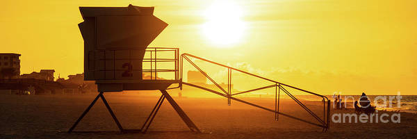 Wall Art - Photograph - Pensacola Beach Lifeguard Tower Two Sunrise Panorama Photo by Paul Velgos
