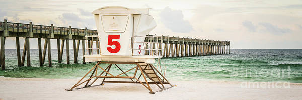 Wall Art - Photograph - Pensacola Beach Pier And Lifeguard Hut Five Panorama Photo by Paul Velgos