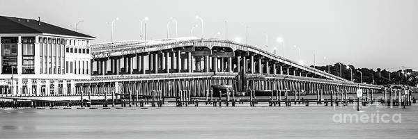 Wall Art - Photograph - Pensacola Beach Sikes Bridge Black And White Panoramic Photo by Paul Velgos
