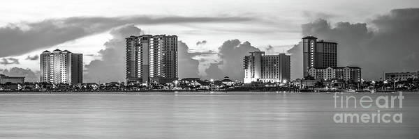 Wall Art - Photograph - Pensacola Beach Skyline Black And White Panorama Photo by Paul Velgos