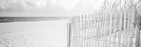 Wall Art - Photograph - Pensacola Florida Beach Fence Black And White Panorama Photo by Paul Velgos