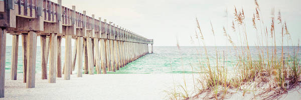 Wall Art - Photograph - Pensacola Gulf Pier And Beach Grass Panorama Photo by Paul Velgos