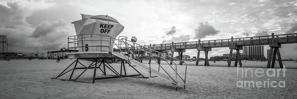 Wall Art - Photograph - Pensacola Lifeguard Tower Five Sunrise Black And White Panorama  by Paul Velgos