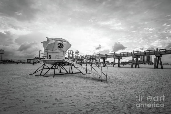 Wall Art - Photograph - Pensacola Lifeguard Tower Five Sunrise Black And White Photo by Paul Velgos