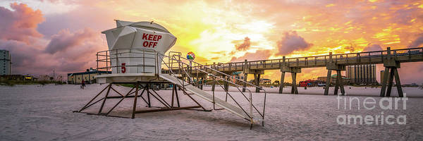 Wall Art - Photograph - Pensacola Lifeguard Tower Five Sunrise Panorama Photo by Paul Velgos