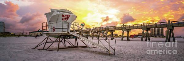 Wall Art - Photograph - Pensacola Lifeguard Tower Five Sunrise Panorama Photo by Paul Velgos