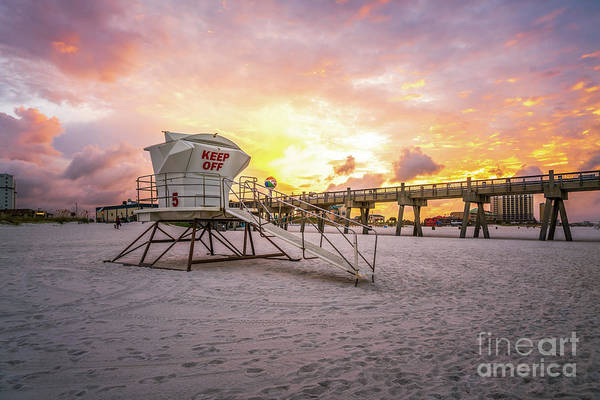 Wall Art - Photograph - Pensacola Lifeguard Tower Five Sunrise Photo by Paul Velgos