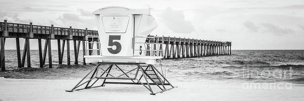 Wall Art - Photograph - Pensacola Pier And Lifeguard Shack 5 Black And White Panorama Ph by Paul Velgos