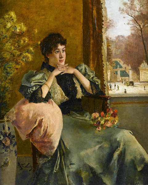 Wall Art - Painting - Pensive Woman Near A Window by Alfred Stevens