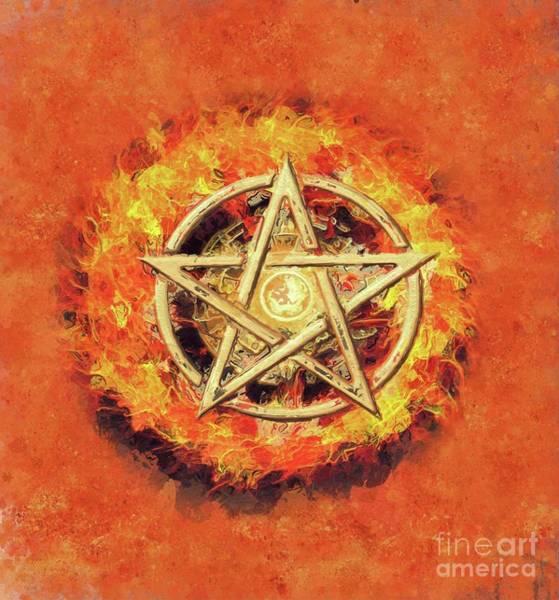 Wall Art - Painting - Pentagram Fire by Sarah Kirk