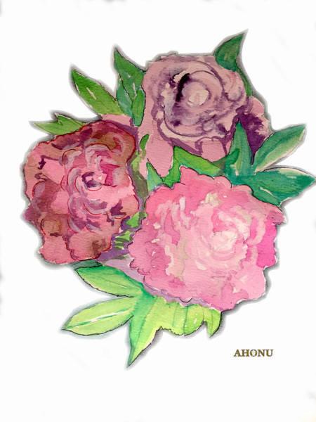 Painting - Peonie Roses by Ahonu