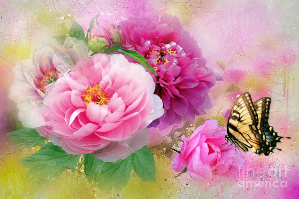 Mixed Media - Peonies And Butterfly by Morag Bates