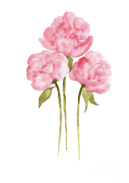 Wall Art - Painting - Peonies Flowers Watercolor Bouquet by Joanna Szmerdt