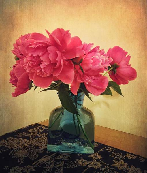 Photograph - Peonies In Blue Vase by Victoria Porter