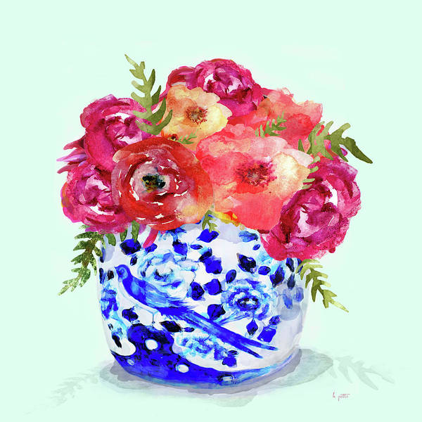 India Ink Wall Art - Painting - Peonies In Chinoiserie Ginger Jar by Kimberly Potts