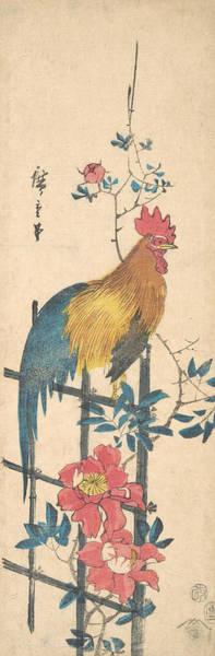Wall Art - Relief - Peony And Cock by Utagawa Hiroshige