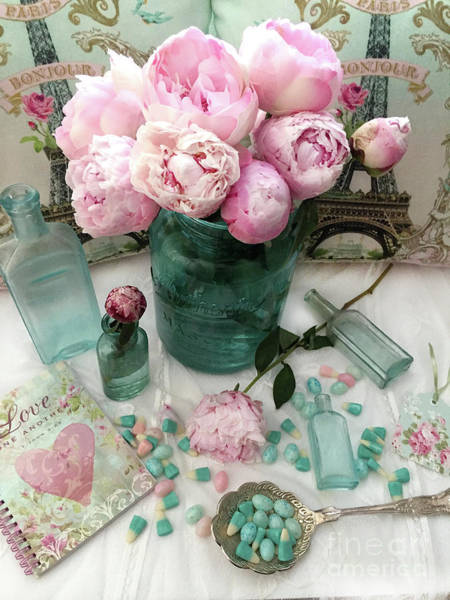 Wall Art - Photograph - Peony Aqua Pink Still Life Flatlay Floral Print Home Decor - Pink Aqua Peony Prints by Kathy Fornal
