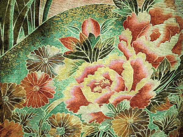 Tapestry - Textile - Peony Garden - Kimono Series by Susan Maxwell Schmidt