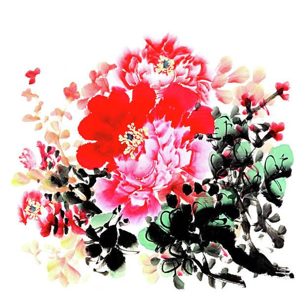 Calligraphy Digital Art - Peony by Vii-photo