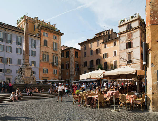 Pantheon Wall Art - Photograph - People At Outside Restaurant In by Angelo Cavalli / Robertharding