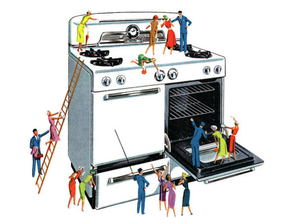 People Climbing Giant Oven Art Print