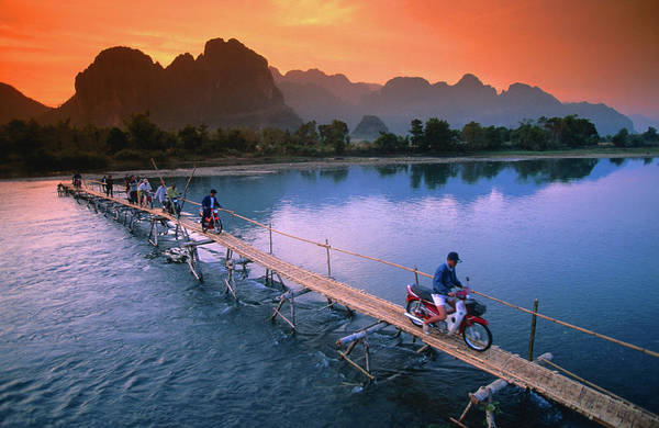 Wall Art - Photograph - People Crossing Bridge Across Nam Song by John Elk Iii