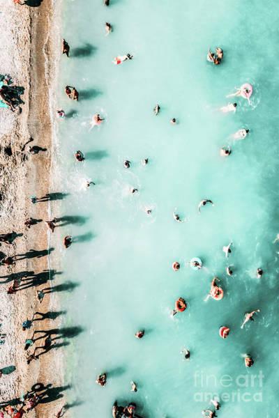 Wall Art - Photograph - People Crowd On Lagos Beach In Portugal, Aerial Beach Print, Beach Print, Ocean Waves, Coastal Print by Radu Bercan