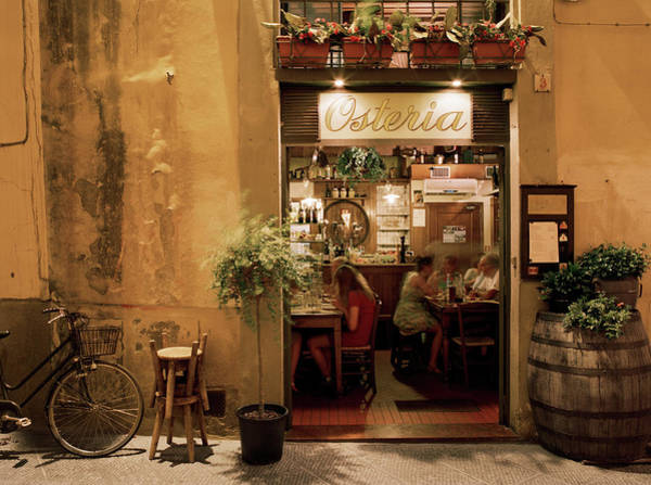 Placard Photograph - People Dining Inside An Osteria by Gary Yeowell