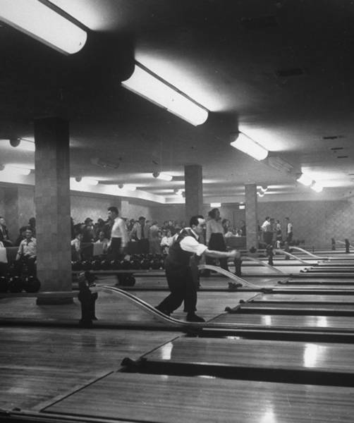 Bowling Alley Photograph - People Enjoying Bowling Alley At Parkche by Alfred Eisenstaedt