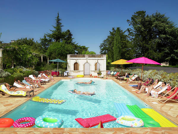 Enjoyment Photograph - People Enjoying Summer Around The Pool by Ghislain & Marie David De Lossy