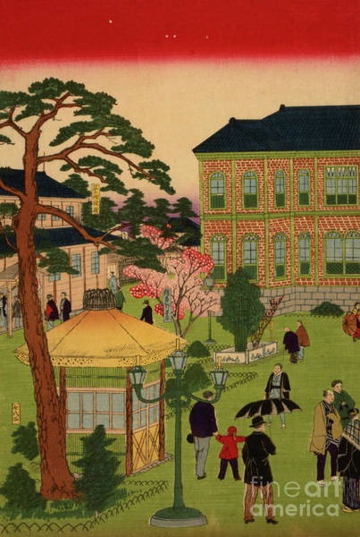 Wall Art - Painting - People Gathered At Ueno Park, 1881 by Japanese School