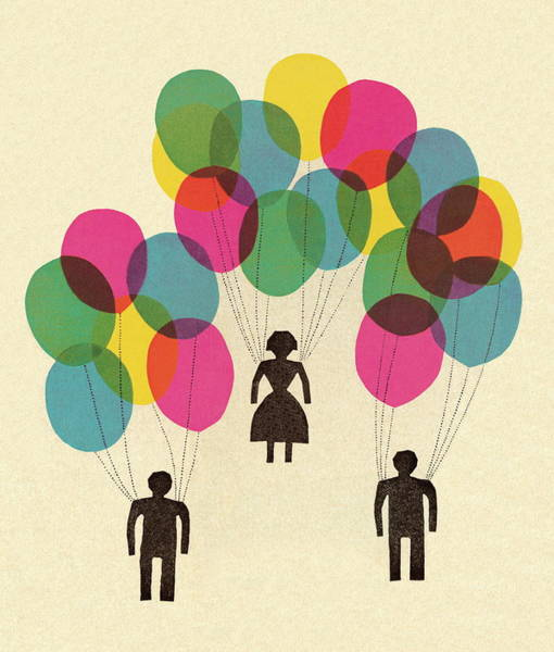 People Holding Balloons Art Print