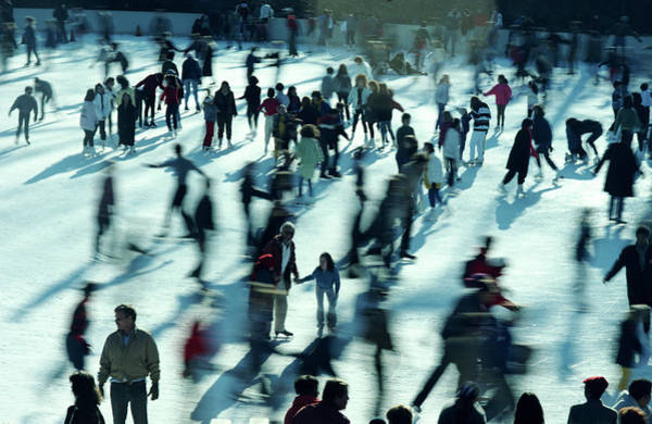 Photograph - People Ice Skating, Elevated View by Alfred Gescheidt