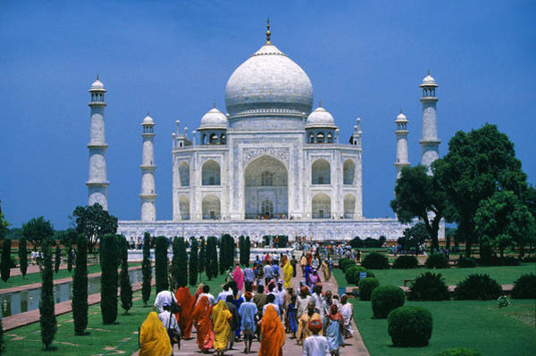 Indian Culture Photograph - People In Front Of The Taj Mahal In The by Per-andre Hoffmann / Look-foto