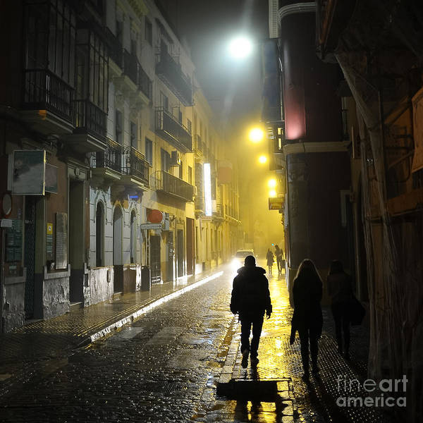Wall Art - Photograph - People In The Dark Alley by Concept Photo