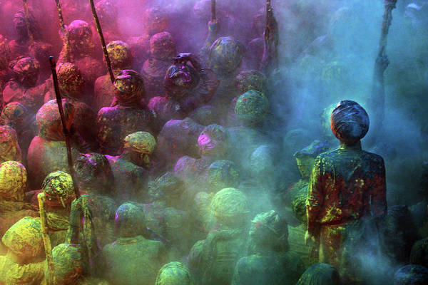 Holi Photograph - People Of Nandgaon  Gathered In by Partha Pal