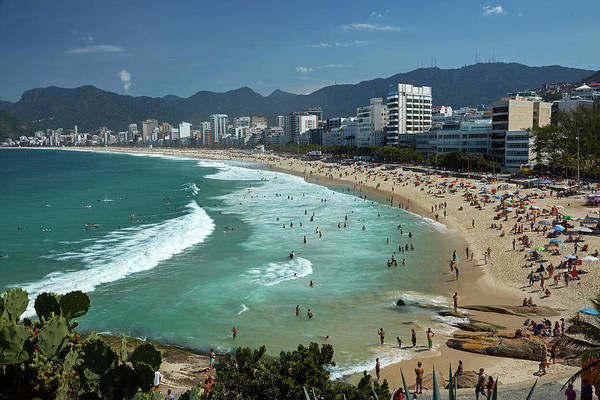 Sunbather Wall Art - Photograph - People On Ipanema Beach, Rio De by David Wall