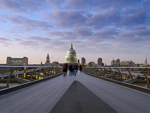 Church Photograph - People On Millennium Bridge In Front Of by Daniel Sambraus / Stock4b
