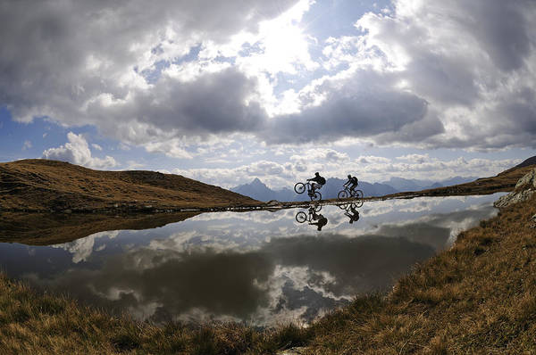 Sports Clothing Photograph - People On Mountain Bikes At Mountain by N Eisele-hein / Look-foto